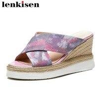 Lenkisen polka dot slip on straw decoration colourful high wedge bottom leather korean girls meeting women peep toe sandals L28