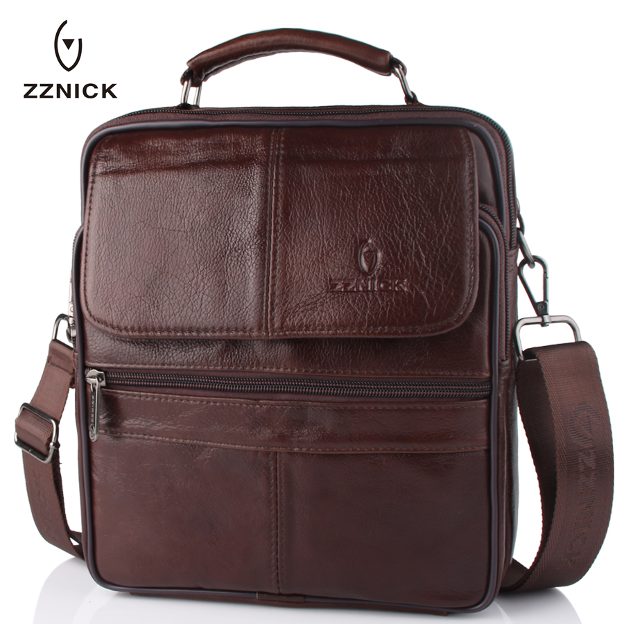 ZZNICK New Men Genuine Leather Messenger Bag Male Cowhide Leather Crossbody Shoulder Bag Vintage Design Men Bags Briefcase