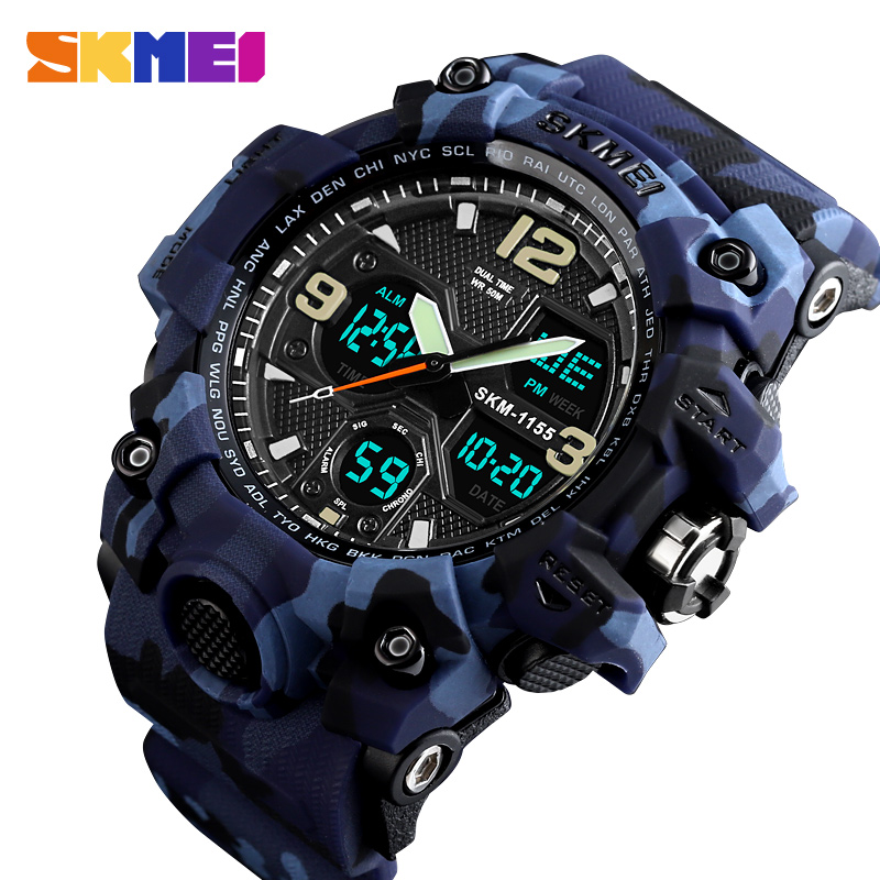 SKMEI Top Brand Sport Watch Men Military Digital Watches 5Bar Waterproof Dual Display Wristwatches Relogio Masculino Watch Sport