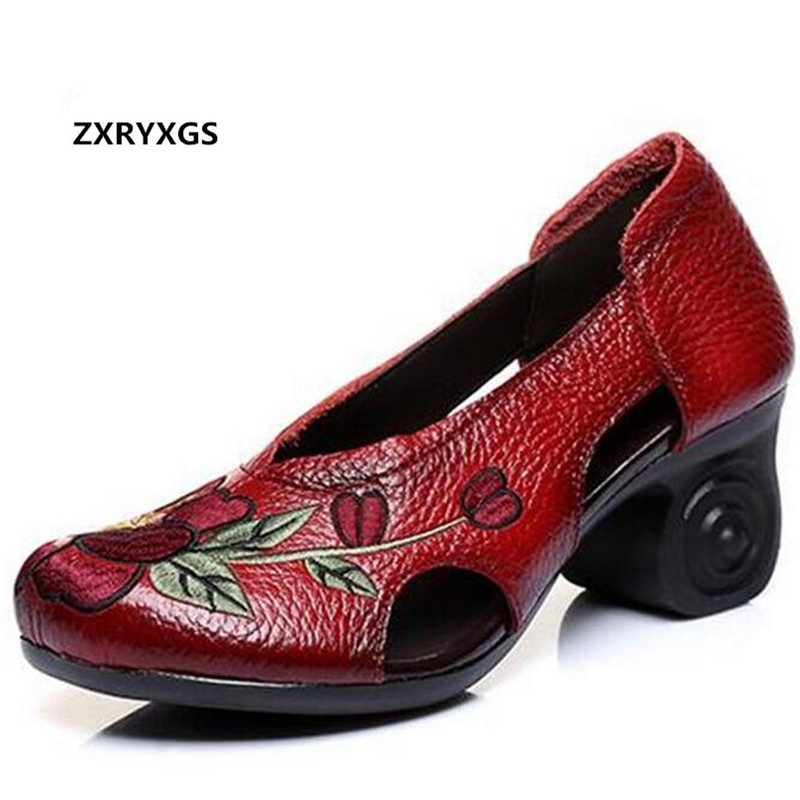 2019 New Elegant Hollow Embroidery Cowhide Leather Shoes Woman Fashion Sandals Wedding shoes Women Fashion Shoes