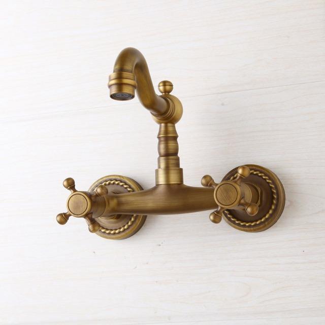 Retro Brass Dual Handle Bathroom Faucet