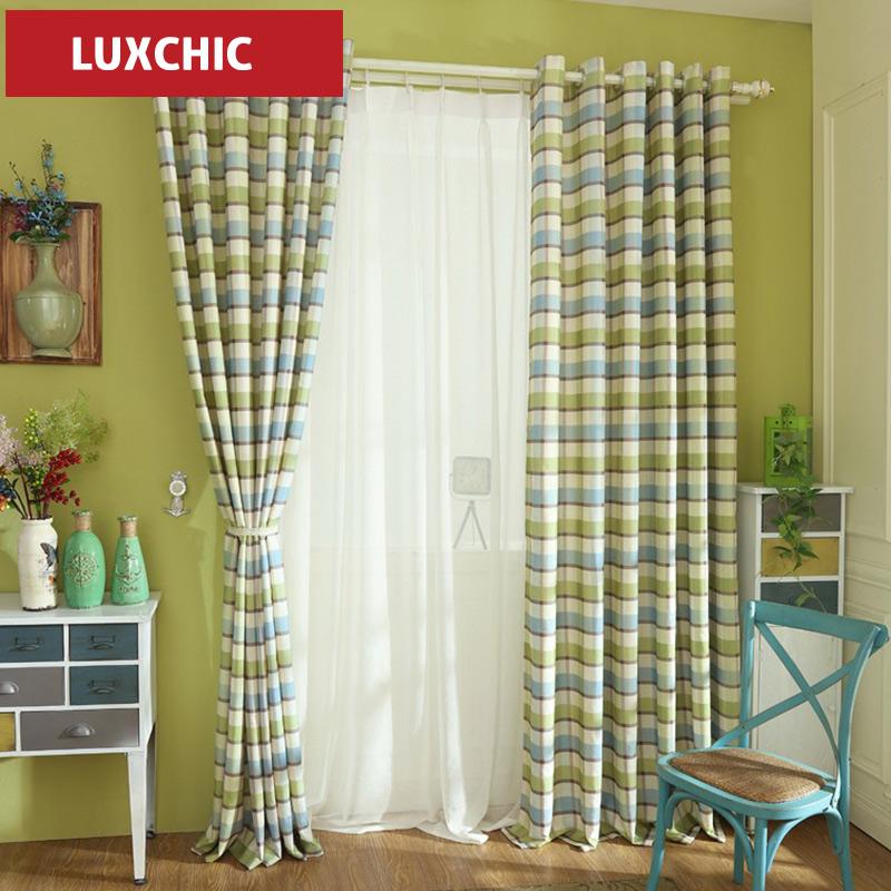 cortinas modernas con plaid impreso de lino rstico cortinas para la sala de estar dormitorio moderno