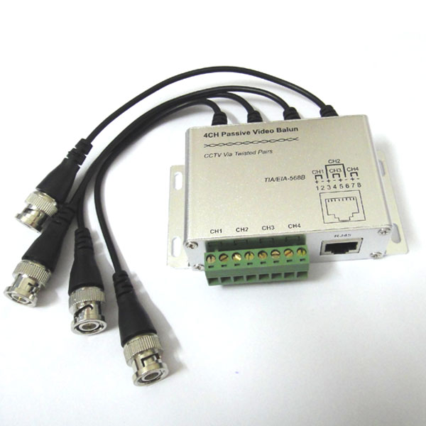2PCS 4CH Passive HD CVI Video Balun Transmitter BNC Video to UTP RJ45 for CCTV C
