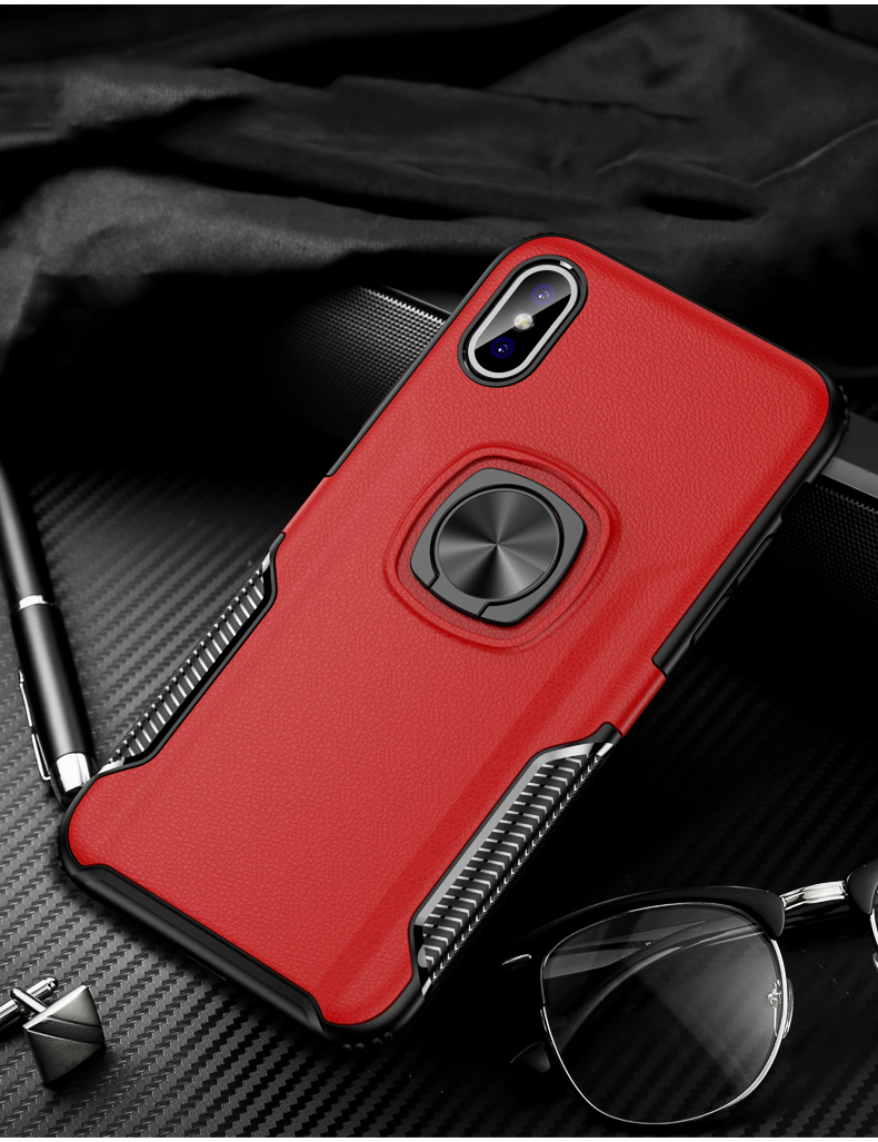 Luxury Leather texture Bracket case For iPhone x xs max xr Shockproof armor cover For iphone 6 6s 7 8 plus case with ring holder (14)