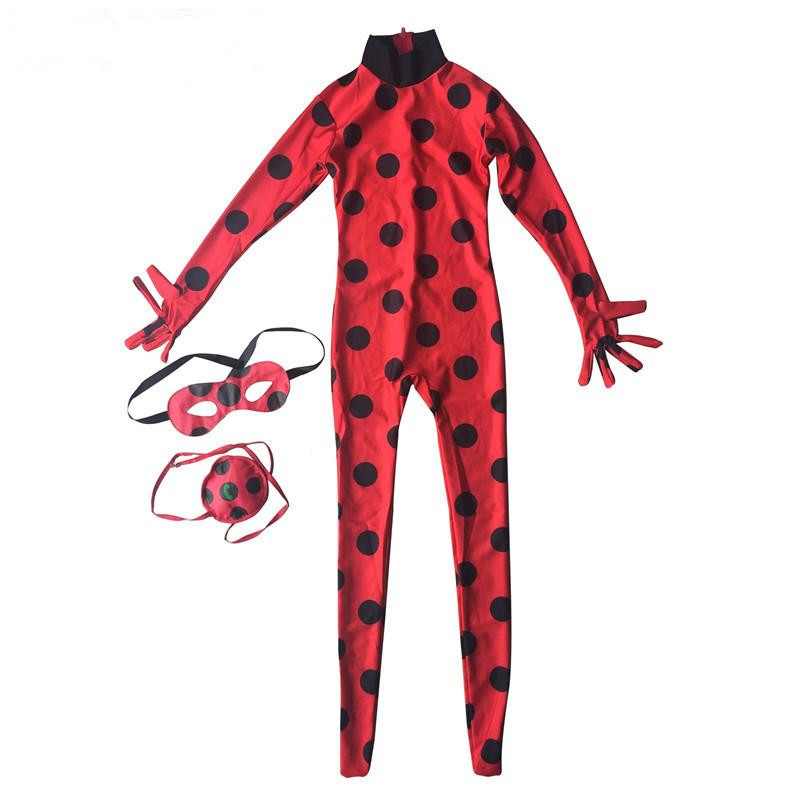 цены Lady bug Cosplay Child kids Halloween Baby Girls Miraculous Ladybug Girls Clothing Sets Costumes Spandex Full Lycra Zentai Suit