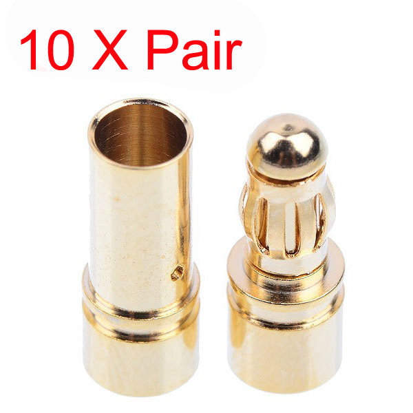 10Pairs 3.5mm Banana Plugs Adapter Gold Plated Bullet Connector Plug Sets RC Part for Battery Terminals Connector Kit