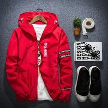 1 шт. Новая мода Slim Fit молодых Для мужчин куртка с капюшоном тонкий Куртки Повседневное ветровка 4 цвета M-5XL
