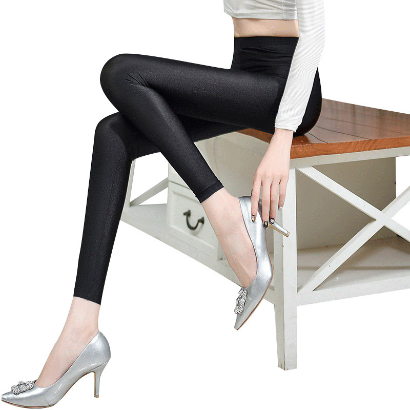 00eda23e6be0a Women glossy shiny black leggings solid trousers high elastic casual black  pencil pants ankle length pants for women/girls 3061-in Leggings from  Women's ...