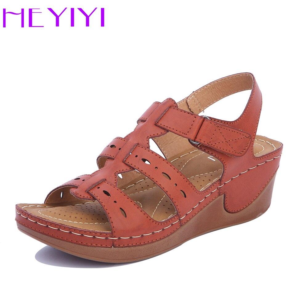Keile Schuhe Frauen Sandalen Plattform Casual Weiche Sohle Kamel Farbe Leichte Komfortable Gladiator Sommer Schuhe Mama Plus Größe