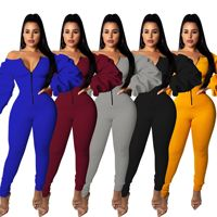 Casual Jumpsuits High Space Layer Jumpsuit Spring Summer Sexy Bodysuit Long Sleeve Combishort Femme Yellow Black Moda Mujer 2019