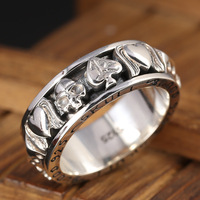 S925 pure silver ornaments turning fortunes man han edition character index finger ring skeleton hearts ring