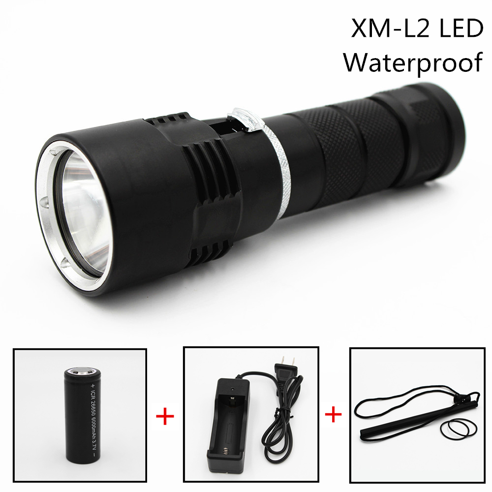 1000LM LED XM-L2 Diving Flashlight Underwater 100M Torch Flashlamp AC Charger 26650 Battery