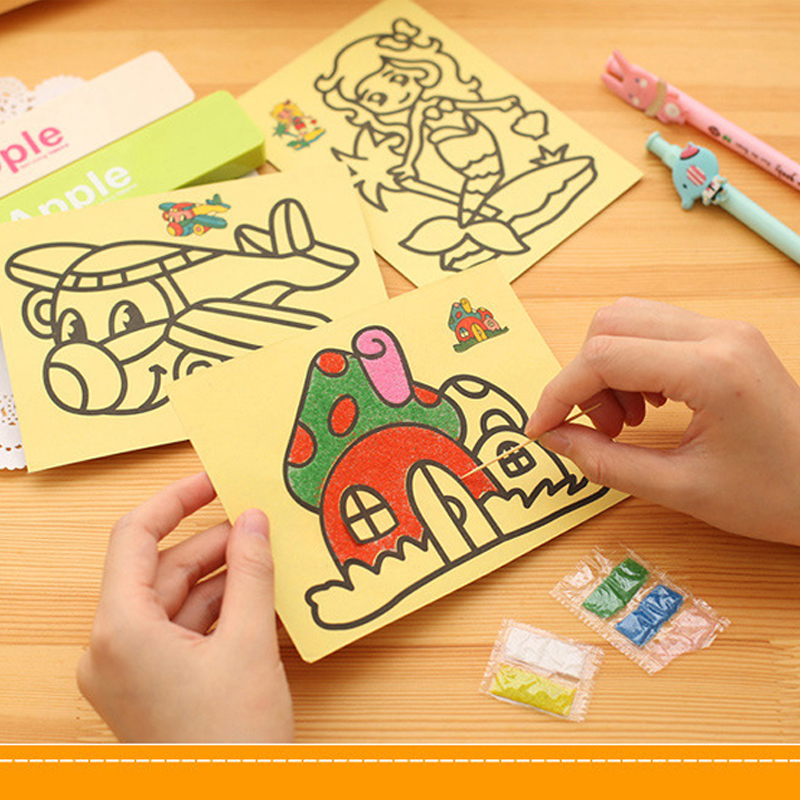 5pcslot 12*16cm20*27cm Kids DIY Color Sand Painting Art Creative Drawing Toys Sand Paper Art Crafts Toys for Children