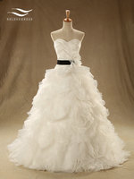 Custom Made Elegant Sweetheart Ball Gown Wedding Dress With Sash And Tiere Long Wedding Gown Bridal