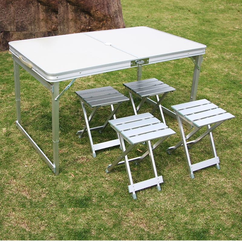 Camping Table And Chairs.Camping Table Portable Folding Table With4 Chairs Height Adjustable Heavy Duty Outdoor Garden Table Trestle Set For Picnic Party