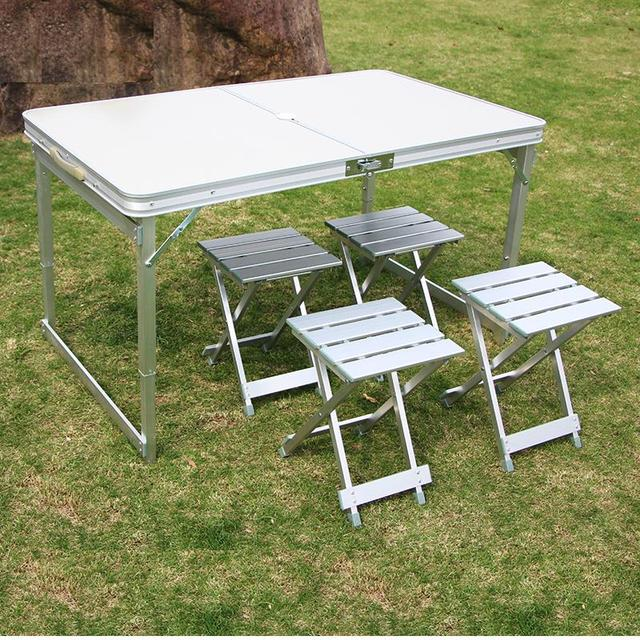 Camping Table Portable Folding Table With4 Chairs Height Adjustable Heavy  Duty Outdoor Garden Table Trestle Set