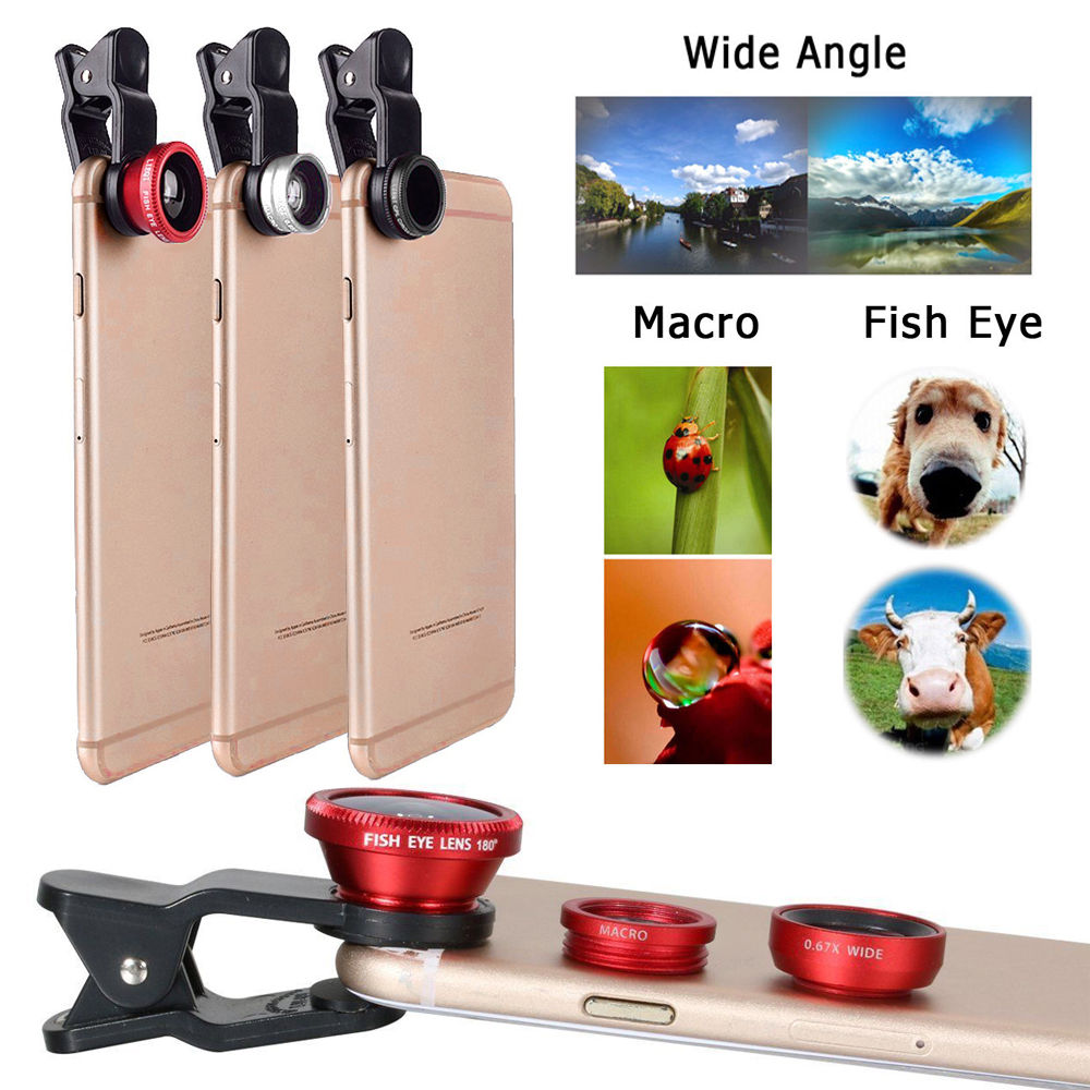 Fisheye Lens 3 in 1 mobile phone clip lenses fish eye wide angle macro camera lens for iphone 6 6s plus 7/7 plus xiaomi huawei 1