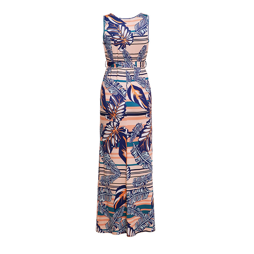 Sleeveless dresses woman party night Ethnic Style sundress female V-neck Strap Printed Vest Maxi large size dresses sukienka#G7
