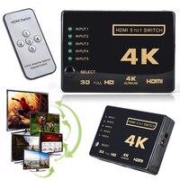 Mini 3D 1080p 5Port 4K HDMI Switch Switcher Selector Splitter Hub IR Remote For HDTV