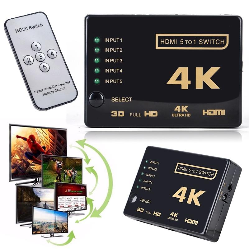 цена на Mini 3D 1080p 5Port 4K HDMI Switch Switcher Selector Splitter Hub +IR Remote For HDTV