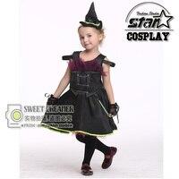 Hot Sale Witch Costume Fancy Children Halloween Costume Girls Cosplay Fancy Gauze Dresses Carnival Masquerade Kids