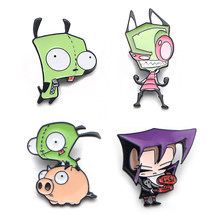 K86 Cartoon Invader ZIM Alien Funny Metal Enamel Pins and Brooches for Backpack/Bag Badge Denim Brooch Collar Jewelry 1pcs(China)