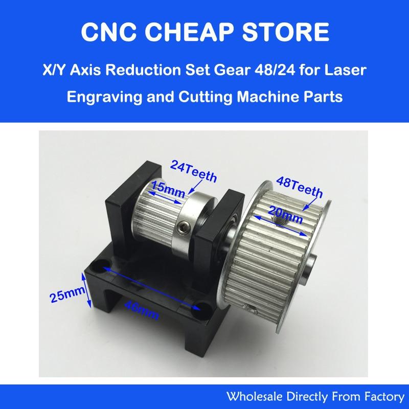 1:2 HTD 3M Timing Pulley 24 Teeth 48 Teeth CO2 Laser Engraving Cutting Machine Accessories - Belt Gear Kit