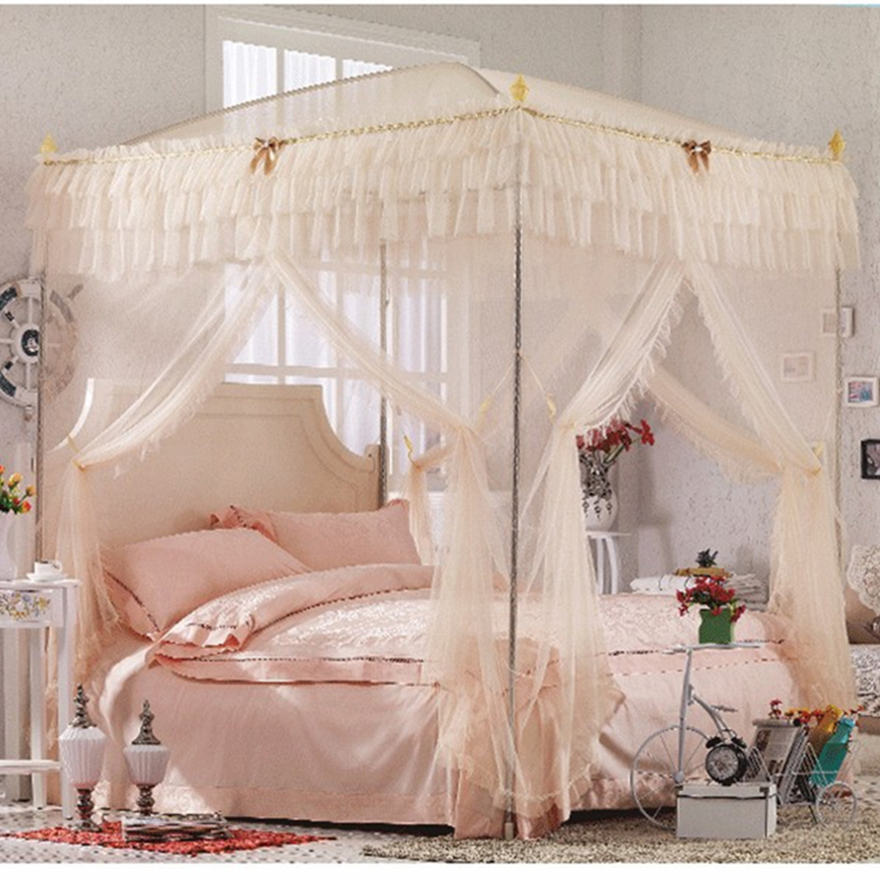 3 COLORS NET mosquito curtain metal steel frame 4 corner canopy ...