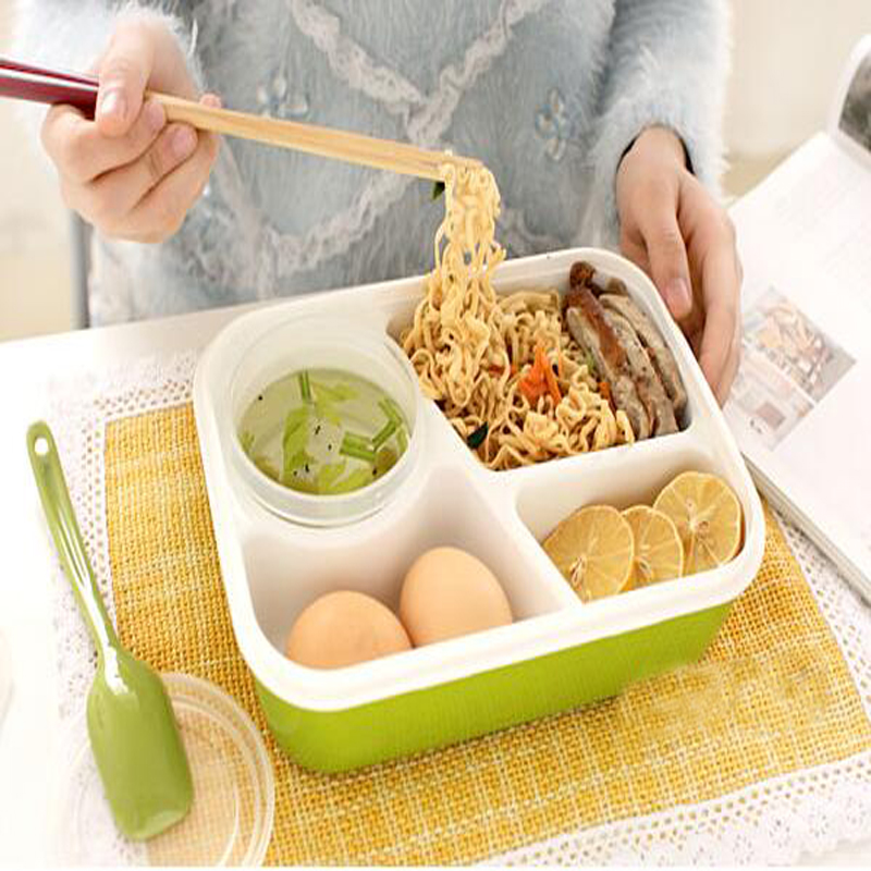 student kids bento lunch box plastic microwaveable lunchbox food container 3 girds with soup. Black Bedroom Furniture Sets. Home Design Ideas