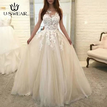 U-SWEAR Evening Dress 2019 O-Neck Sleeveless Lace Applique Evening Party Prom Formal Gowns Long Dresses Vestidos Robe De Soiree 2