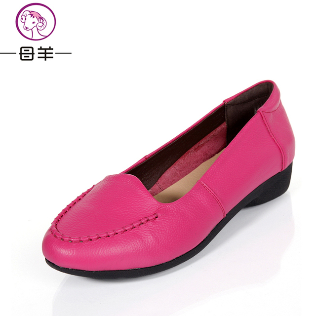MUYANG Chines Brand Women Genuine Leather Spring Flat Casual Shoes Woman Colorful Shoes Women Flats