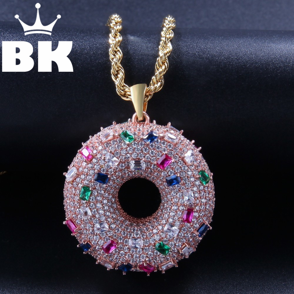 THE BLING KING Custom Doughnut Necklace Hip Hop Full Iced Out Cubic Zirconia gold sliver CZ