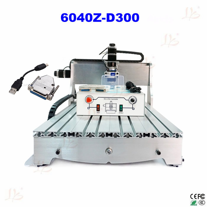 NO TAT TO RUSSIA! 6040 Z-D300 cnc router machine with USB adapter CNC milling machine can carve wood, pcb, soft aluminum high performance mini cnc machine 6040 4axis with water tank for metal wood stone milling no tax to russia