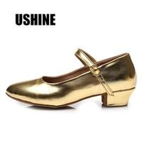 USHINE Hot Sale 207 Gold Silver Zapatos de baile latino mujer Tango Latin Salsa Dance Shoes For Girls Women