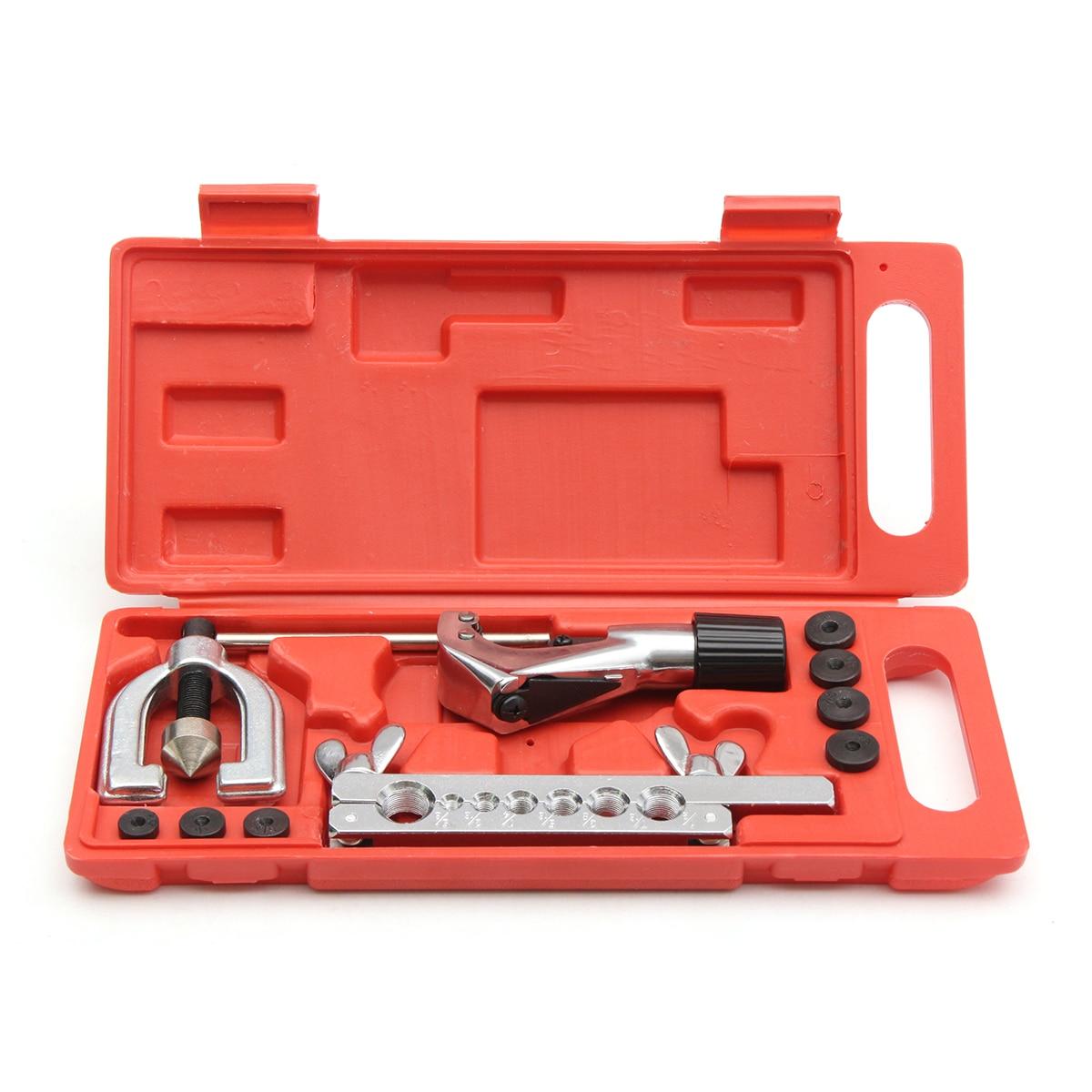 11pcs Steel Brake Fuel Pipe Repair Double Flaring Dies Tool Set Clamp Kit Tube Cutter Bending Tool Set Pipe Flaring Kit цена