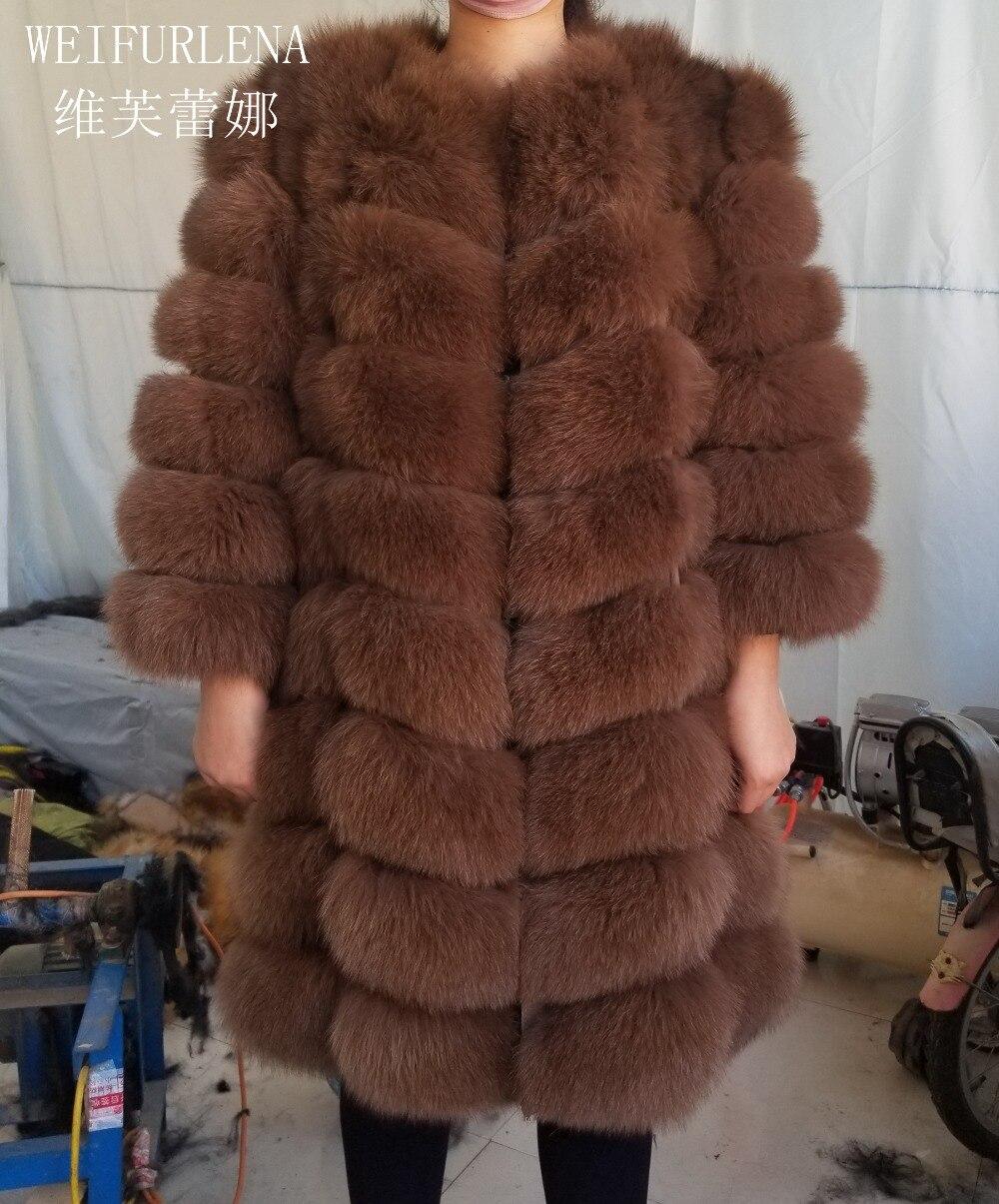 90 cm véritable fourrure de renard Naturel de Qualité Manteau De Fourrure Renard Arctique Gilet Dames Détachable Femmes Conception Épaisse Hiver Transformateur Manteau