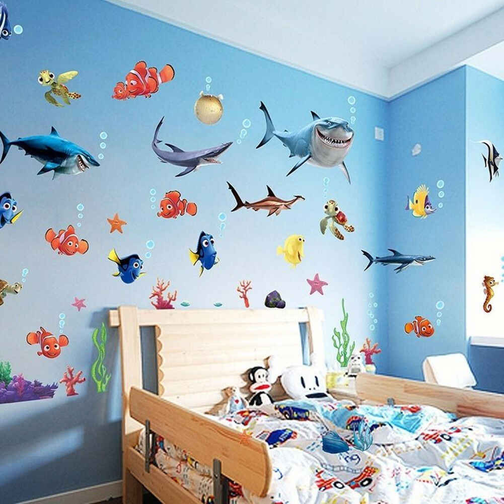 Finding Nemo Room Decor.New Finding Nemo Shark Fish Wall Stickers Bedroom Wall Decor Mural Decals Kids Room Decoration Bathroom Fun Sticker
