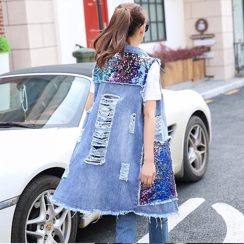Nuove Donne di Modo del Foro Della Maglia Grande Tasca Paillettes Trendy Femmine Denim Elegante Casuale del Tutto Fiammifero Donne Alla Moda Tuta Sportiva Femminile