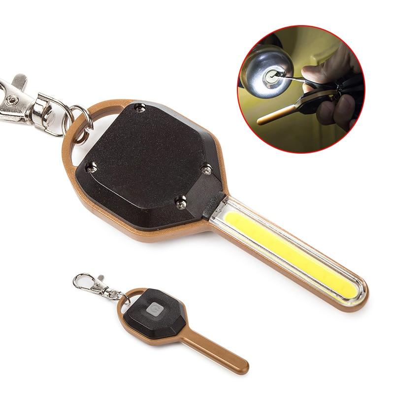 LED Flashlight Light Mini Key Shape Keychain Lamp Torch Emergency Camping Light Cute Key Ring Keychain Torch Lamp Gracious