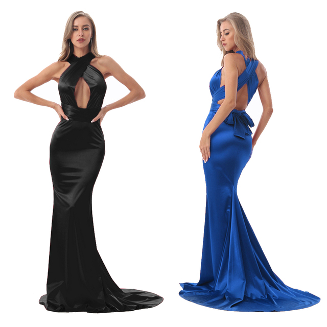 2019 Sexy Mermaid Satin Dresses Floor Length Evening Party Dress Hollow Out DIY Straps Bodycon Backless Evening Gown Dress 2