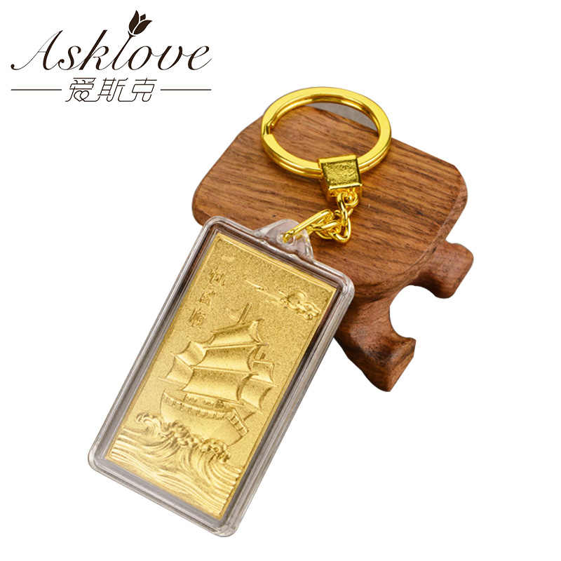 3D Gold Keychain Decoration Crafts Figurine Portrait Ornament 24k Gold Foil Key Buckle friends gifts Buddhism Fortunate Pendant