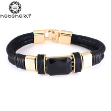 Top Quality Elegant Red and Black Stone Leather Bracelet