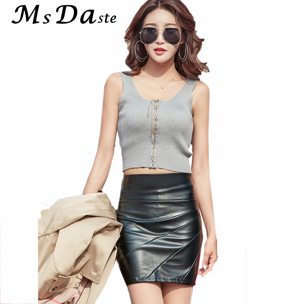 Women Ladies PU Leather Rivets  High Waisted Short Party Club Mini Pencil Skirt