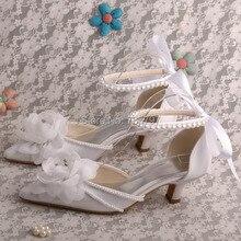 Wedopusสีขาวต่ำส้นรองเท้าแต่งงานมุกรองเท้าเจ้าสาวริบบิ้นสาย