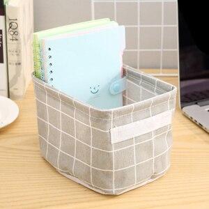 Image 4 - Katoen Opbergdozen Make Up Cosmetica Organizer Boek Container Vuile Kleren Kist Draagbare Kantoor Organizer Met Handvat
