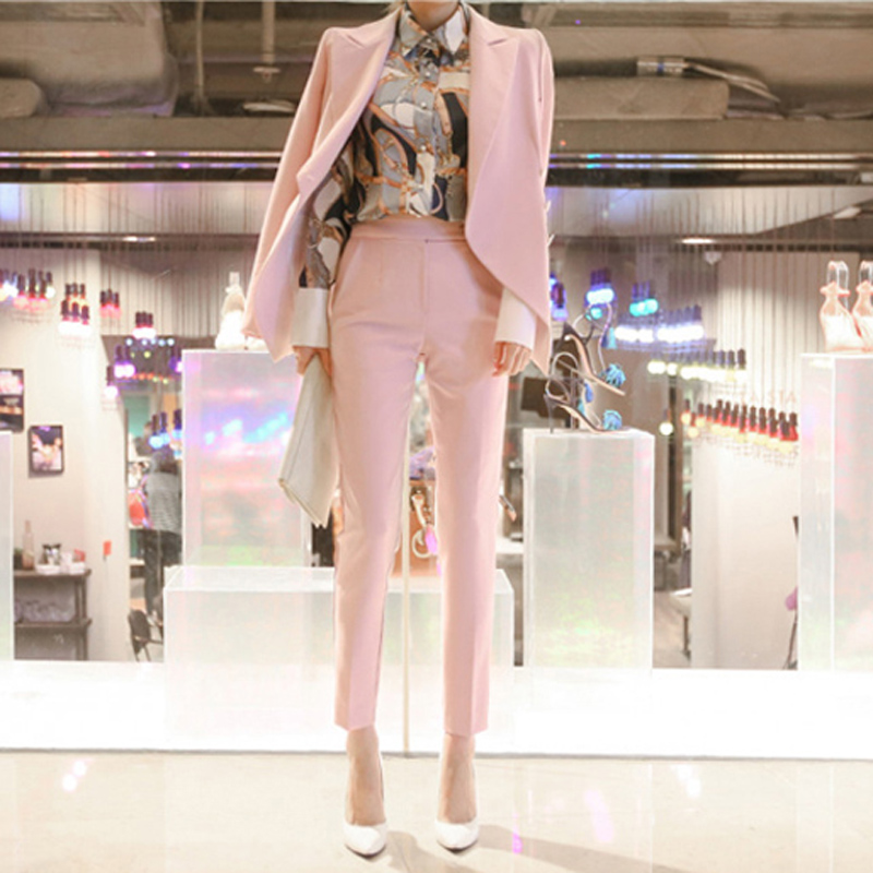 BGTEEVER Fashion Pink 2 Piece Set for Women Pant Suit Single Button Notched Blazer & High Waisted Pants Casual Work Wear 2018
