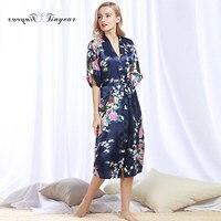 Tinyear 2017 Autumn Female Printed Animal Kimono Dress Gown Chinese Style Silk Satin Robe Nightgown S M L XL XXL XXXL