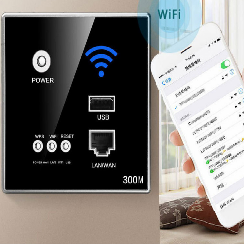 86type universal 90 250v presa wifi wall socket wifi enchufe pared wifi power socket with USB WPS 300M effect free shipping in Electrical Sockets from Home Improvement