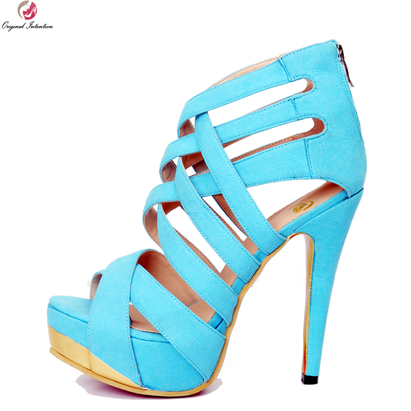 Original Intention Stylish Women Sandals Fashion Platform Open Toe Thin High Heels Sandals Blue Shoes Woman Plus US Size 4-20 original intention new sexy women sandals stylish cut outs open toe thin heels sandals nice black shoes woman plus us size 4 20