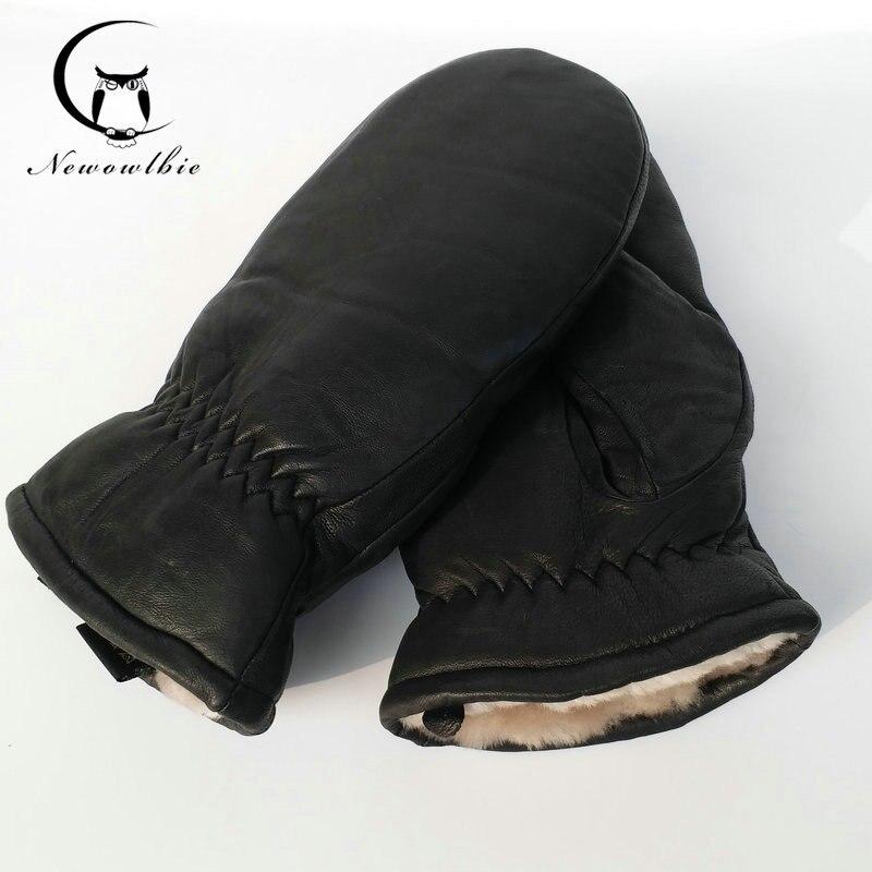 2017Men gants en peau de mouton véritable gants en cuir pour hommes d'hiver En Plein Air chaud de fourrure épaississement thermique gants